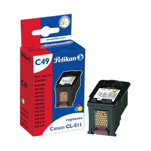 Tintenpatrone Gr. 1512 (CL-511) für Pixma IP2700/MP240/MX420 mit Chip 3x4,5ml tricolor Pelikan 4105714 Produktbild Front View L