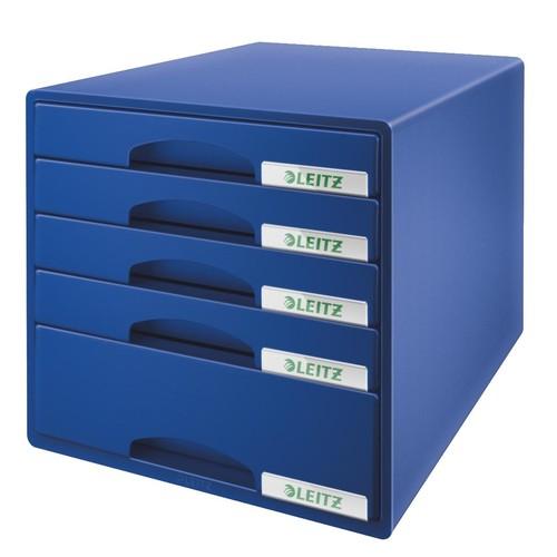 Schubladenboxen Plus 5 Schübe 287x270x363mm blau Kunstoff Leitz 5211-00-35 Produktbild Front View L
