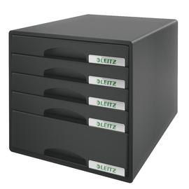 Schubladenboxen Plus 5 Schübe 287x270x363mm schwarz Kunstoff Leitz 5211-00-95 Produktbild