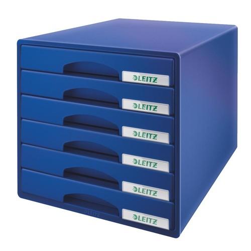 Schubladenboxen Plus 6 Schübe 287x270x363mm blau Kunstoff Leitz 5212-00-35 Produktbild Front View L