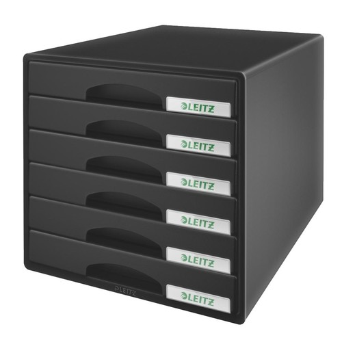 Schubladenboxen Plus 6 Schübe 287x270x363mm schwarz Kunstoff Leitz 5212-00-95 Produktbild Front View L