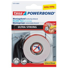 Powerbond Ultra 19mmx1,5m bis 10kg/10cm Haftkraft farblos Tesa 55791-00001-00 Produktbild
