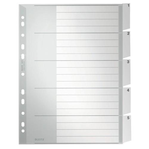 Register Blanko mit Taben A4 überbreit 238x297mm 5-teilig grau Plastik Leitz 1271-00-85 Produktbild Front View L