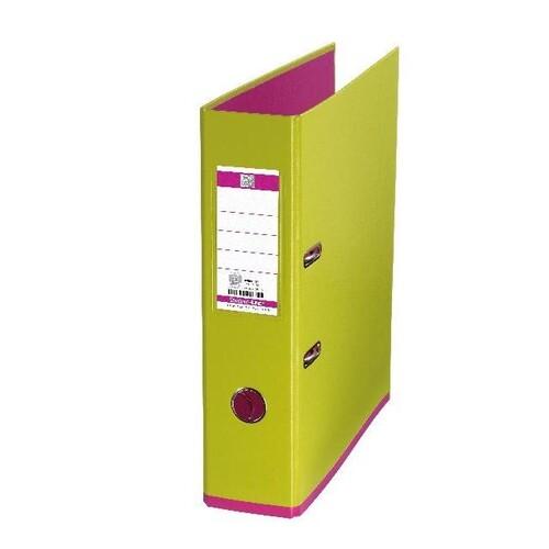 Ordner Oxford myColor A4 80mm hellgrün/pink PP 100081037 Produktbild Front View L