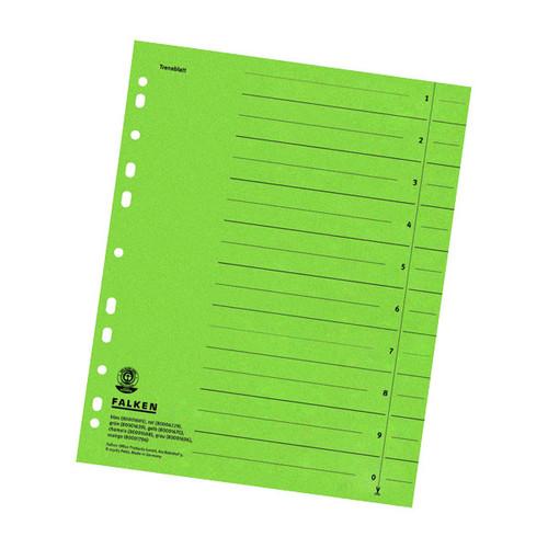 Trennblätter mit abschneidbaren Taben A4 240x300mm grün vollfarbig Karton Falken 80001639 (PACK=100 STÜCK) Produktbild Front View L