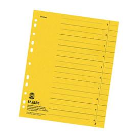 Trennblätter mit abschneidbaren Taben A4 240x300mm gelb vollfarbig Karton Falken 80001670 (PACK=100 STÜCK) Produktbild