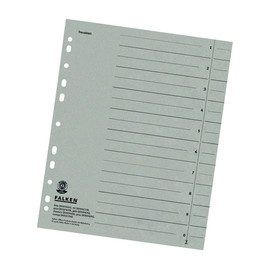 Trennblätter mit abschneidbaren Taben A4 240x300mm grau vollfarbig Karton Falken 80001696 (PACK=100 STÜCK) Produktbild