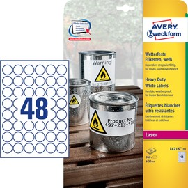 Folien-Etiketten Laser ø30mm auf A4 Bögen wetterfest+strapazierfähig+ permanent matt weiß Zweckform L4716-20 (PACK=160 STÜCK) Produktbild