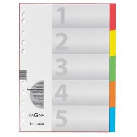 Register Blanko A4 225x300mm 5-teilig mehrfarbig Karton Pagna 32000-20 Produktbild