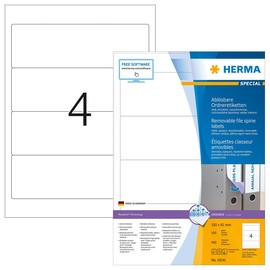 Rückenschilder zum Bedrucken 61x192mm kurz breit auf A4 Bögen Movables weiß wiederablösbar Herma 10141 (PACK=400 STÜCK) Produktbild