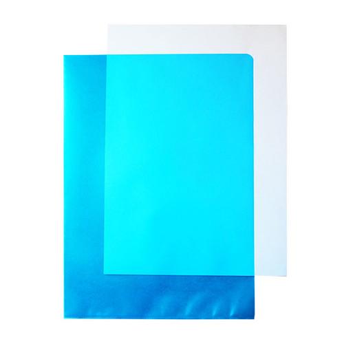 Sichthüllen oben + rechts offen A4 120µ blau PP 00517312 (PACK=100 STÜCK) Produktbild Additional View 1 L