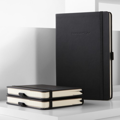 Notizbuch CONCEPTUM Softwave kariert A4+ 225x315mm 194Seiten schwarz Hardcover Sigel CO115 Produktbild Back View L