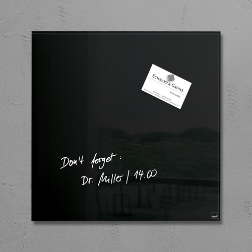 Glas-Magnetboard artverum 300x300x15mm schwarz inkl. Magnete Sigel GL157 Produktbild