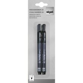 Kreidemarker 20 artverum 1-2mm Rundspitze schwarz abwischbar Sigel GL177 (PACK=2 STÜCK) Produktbild