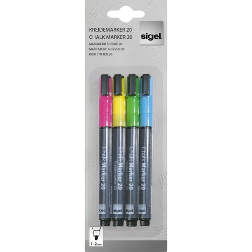 Kreidemarker 20 artverum 1-2mm Rundspitze pink/gelb/grün/blau abwisch- bar und fluoreszierend Sigel GL179 (PACK=4 STÜCK) Produktbild