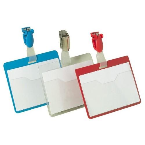 Namensschild mit Clip 90x60mm vorne offen Hochformat Durable 8107-19 (PACK=25 STÜCK) Produktbild Additional View 1 L