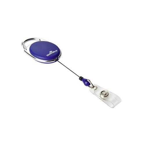 Ausweishalter mit Clip und JoJo Style mit Druckknopf dunkelblau Durable 8324-07 (PACK=10 STÜCK) Produktbild Front View L