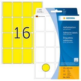 Vielzweck-Etiketten für Handbeschriftung 25x40mm gelb Herma 2451 (PACK=512 STÜCK) Produktbild