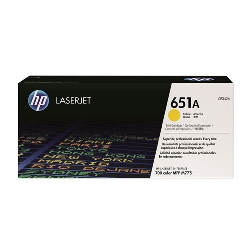 Toner 651A für HP Enterprise M700 775XX Color MFP 16000Seiten yellow HP CE342A Produktbild Front View L