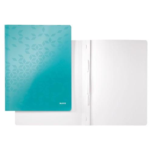 Schnellhefter WOW A4 eisblau metallic PP-laminierter Karton Leitz 3001-00-51 Produktbild Front View L