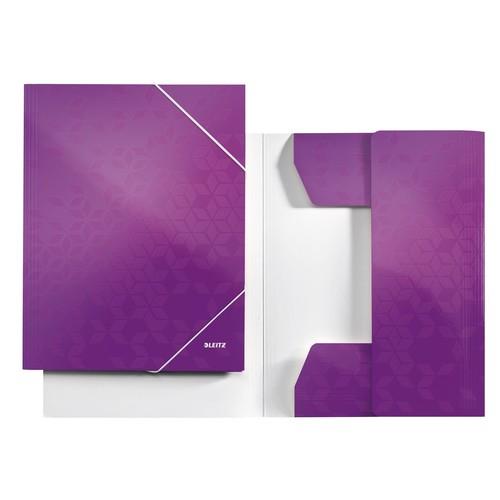 Eckspanner WOW A4 für 250Blatt violett metallic PP-laminierter Karton Leitz 3982-00-62 Produktbild Front View L