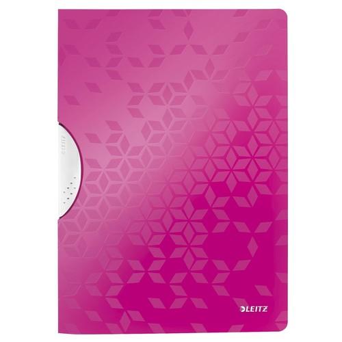 Klemmmappe WOW ColorClip A4 bis 30Blatt pink metallic PP Leitz 4185-00-23 Produktbild Front View L