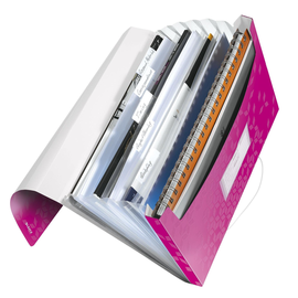 Projektmappe WOW mit Gummizug A4 mit 6 Fächern pink metallic PP Leitz  4589-00-23 Produktbild