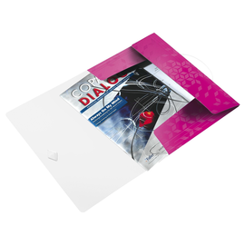 Eckspanner WOW mit 3 Klappen A4 für 150Blatt pink metallic PP Leitz 4599-00-23 Produktbild