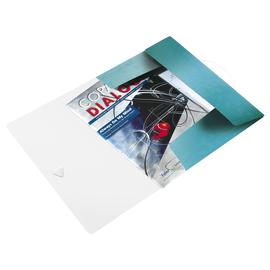 Eckspanner WOW mit 3 Klappen A4 für 150Blatt eisblau metallic PP Leitz 4599-00-51 Produktbild