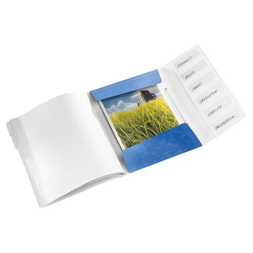 Ordnungsmappe WOW mit Gummizug A4 mit 6 Fächern und 3 Klappen blau metallic PP Leitz 4633-00-36 Produktbild Additional View 1 L