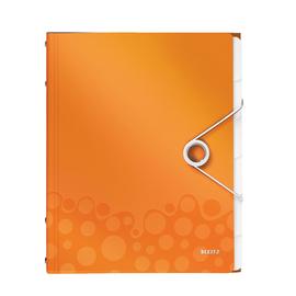Ordnungsmappe WOW mit Gummizug A4 mit 6 Fächern und 3 Klappen orange metallic PP Leitz 4633-00-44 Produktbild