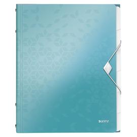 Ordnungsmappe WOW mit Gummizug A4 mit 6 Fächern und 3 Klappen eisblau metallic PP Leitz 4633-00-51 Produktbild