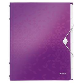 Ordnungsmappe WOW mit Gummizug A4 mit 6 Fächern und 3 Klappen violett metallic PP Leitz 4633-00-62 Produktbild