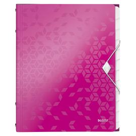 Ordnungsmappe WOW mit Gummizug A4 mit 12 Fächern und 3 Klappen pink metallic PP Leitz 4634-00-23 Produktbild