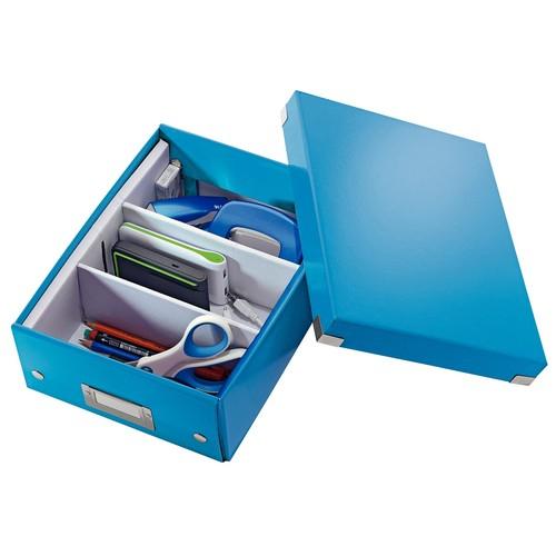 Organisationsbox WOW Click & Store 282x220x100mm klein blau metallic Leitz 6057-00-36 Produktbild Additional View 3 L