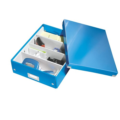 Organisationsbox WOW Click & Store 370x281x100mm blau metallic Leitz mittel 6058-00-36 Produktbild Additional View 2 L