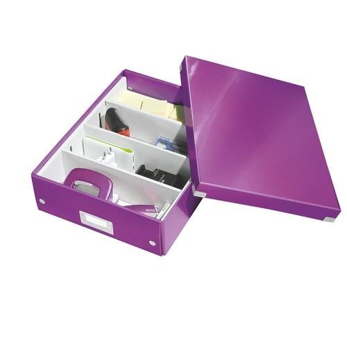 Organisationsbox WOW Click & Store 370x281x100mm mittel violett Leitz 6058-00-62 Produktbild Additional View 2 L