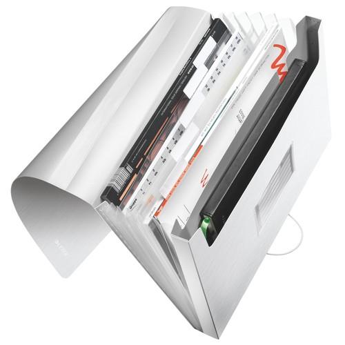 Projektmappe Style mit Gummizug A4 mit 6 Fächern arktik weiß PP Leitz 3957-00-04 Produktbild Front View L
