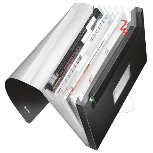 Projektmappe Style mit Gummizug A4 mit 6 Fächern satin schwarz PP Leitz 3957-00-94 Produktbild Front View L