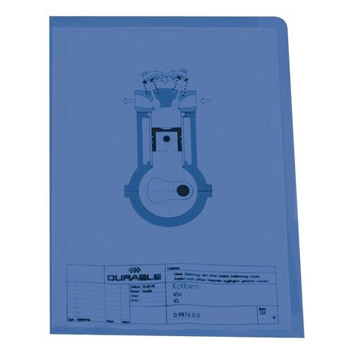 Sichthülle oben + rechts offen A4 150µ blau PVC Hartfolie Durable 2339-06 Produktbild