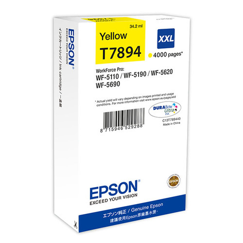 Tintenpatrone T7894XXL für Epson Workforce Pro WF 4630 DWF 34,2ml yellow Epson T789440 Produktbild Front View L