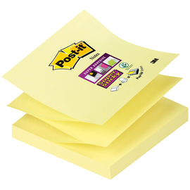 Haftnotizen Post-it Super Sticky Z-Notes 76x76mm gelb Z-Faltung Papier 3M R33012SY (ST=90 BLATT) Produktbild