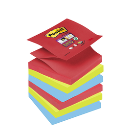 Haftnotizen Post-it Super Sticky Z-Notes 76x76mm Bora Bora Z-Faltung Papier 3M R3306SJ (ST=6x 90 BLATT) Produktbild