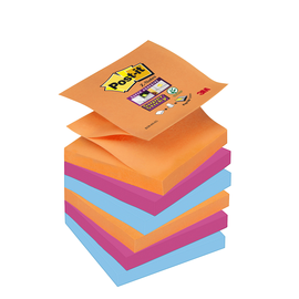 Haftnotizen Post-it Super Sticky Z-Notes 76x76mm Bangkok Z-Faltung Papier 3M R3306SE (ST=6x 90 BLATT) Produktbild
