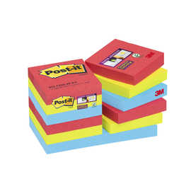 Haftnotizen Post-it Super Sticky Notes 51x51mm Bora Bora Papier 3M 62212SJ (PACK=12x 90 BLATT) Produktbild