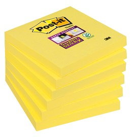 Haftnotizen Post-it Super Sticky Notes 76x76mm narzissengelb Papier 3M 654-S6 (ST=90 BLATT) Produktbild