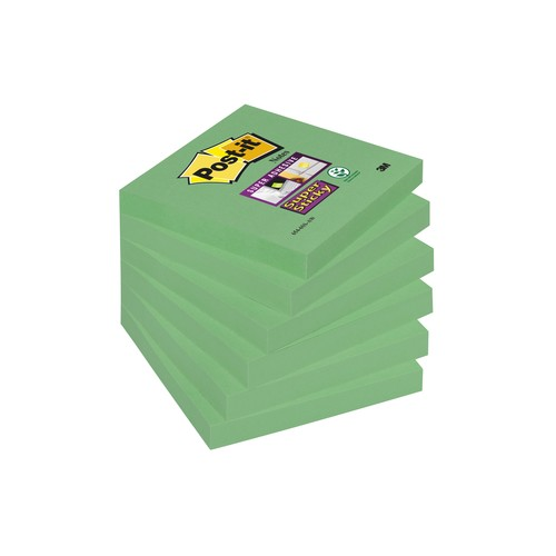 Haftnotizen Post-it Super Sticky Notes 76x76mm lindgrün Papier 3M 6546SA (ST=90 BLATT) Produktbild Additional View 4 L