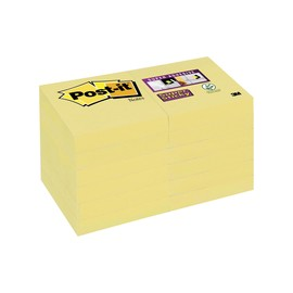 Haftnotizen Post-it Super Sticky Notes 48x48mm gelb Papier 3M 62212SY (PACK=12x 90 BLATT) Produktbild
