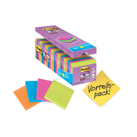 Haftnotizen Post-it Super Sticky Notes Promotion 76x76mm neon Papier 3M 654SE24P (PACK=21X90BLATT + 3X90BLATT GRAITS) Produktbild