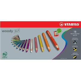 Multitalent-Stifte woody 3 in 1 + Spitzer sortiert 10mm Mine Stabilo 880/18 (ETUI=18 STÜCK) Produktbild